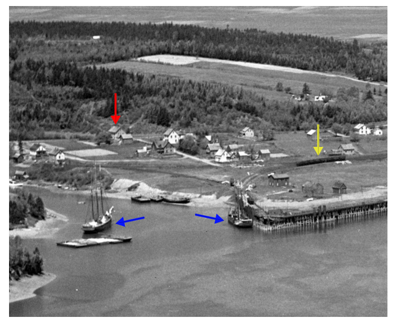 View of Parrsboro Harbour in 1931 showing location of family home where Eldon George was born in 1931.